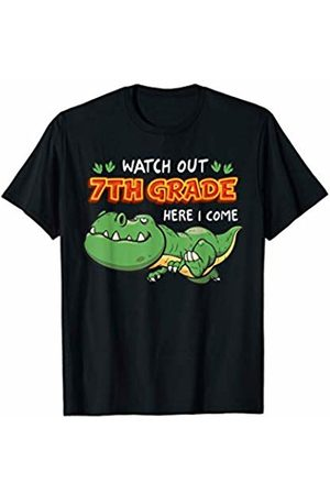 First Day Of School - MUNUL Watch Out 7th Grade Here I Come Dinosaurs Back To School T-Shirt