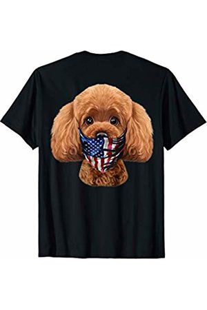 Fox Republic T-Shirts Playful Toy Poodle Dog in Flag of USA Bandana T-Shirt