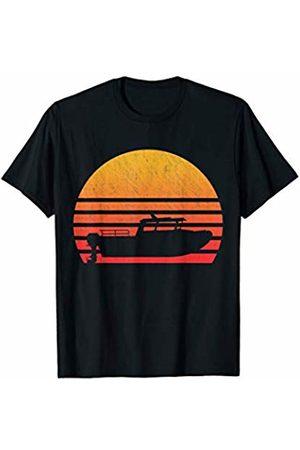 Classic Vintage Retro T-Shirts Vintage Retro Sunset Motor Boat T-Shirt