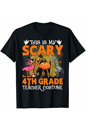 Designs Dedicated To 4Th Grade Halloween Flamingo This Is My Scary 4Th Grade Teacher Costume Pattern Cute T-Shirt