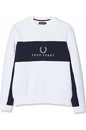 Fred Perry Men's M4553-panel Piped Sweatshirt-100-s Sports Hoodie, ( 100)