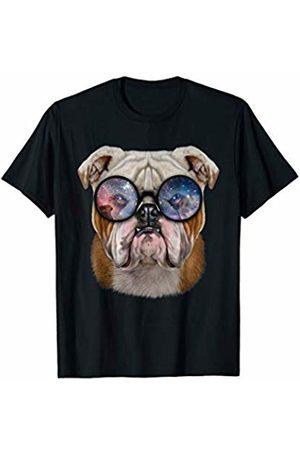 Fox Republic T-Shirts Grumpy English Bulldog wearing Space Galaxy Sunglass T-Shirt