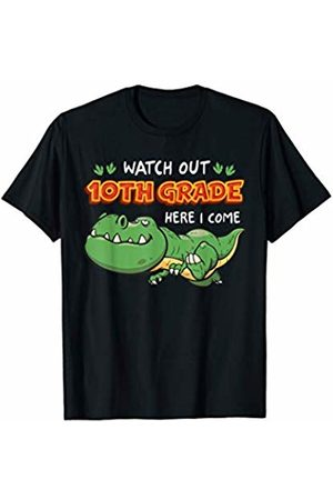 First Day Of School - MUNUL Watch Out 10th Grade Here I Come Dinosaurs Back To School T-Shirt