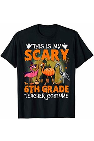 Designs Dedicated To 6Th Grade Halloween Flamingo This Is My Scary 6Th Grade Teacher Costume Pattern Cute T-Shirt