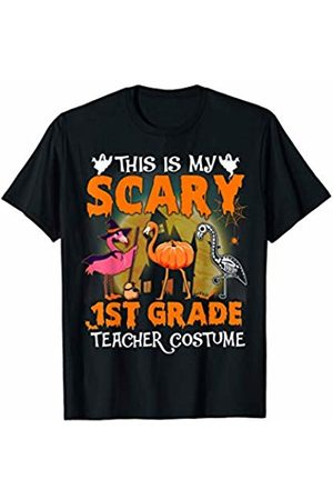Designs Dedicated To 1ST Grade Halloween Flamingo This Is My Scary 1ST Grade Teacher Costume Pattern Cute T-Shirt