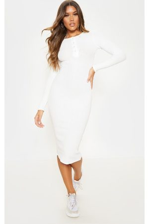 PRETTYLITTLETHING Brushed Rib Button Front Midaxi Dress