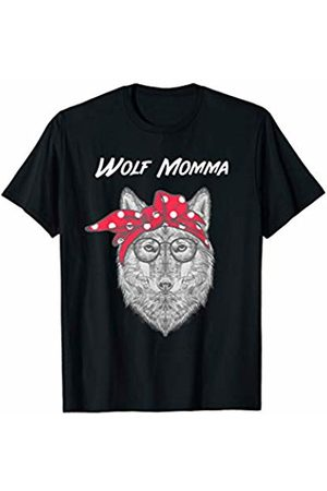 WolfRocks Wolf Momma with Red Bandana T-Shirt
