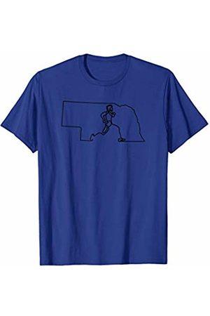 Wesean Runner State of Nebraska Outline with Runner ABN371a T-Shirt