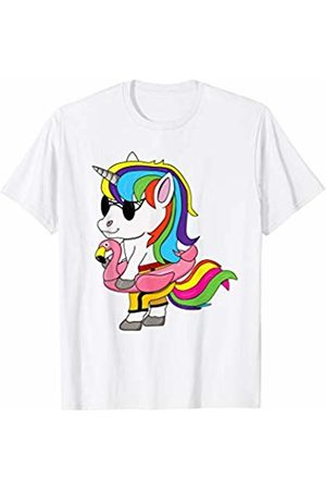 Cute Unicorn Summer Holiday Shirts Unicorn with sunglasses, swim ring Shirt kids