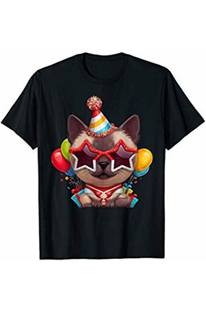 Cats Love Decorations Siamese Cat in Glasses Birthday T-Shirt