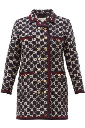 Gucci GG-jacquard Tweed Single-breasted Coat - Womens - Navy Multi
