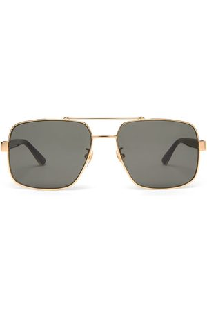 Gucci Men Sunglasses - Web-stripe Aviator Metal Sunglasses - Mens