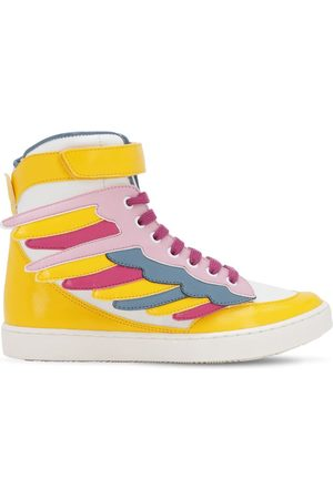 Stella McCartney Wings Faux Leather High Top Sneakers