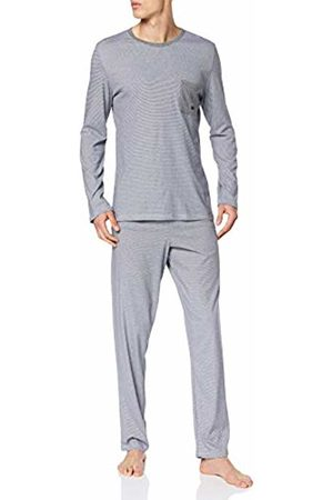 Hom Men's Captain Long Sleepwear Pyjama Set, (Haut: Rayure Marine Et Blanche, Détails, Bas: Gris Chiné Pn07)