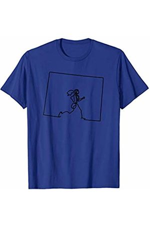 Wesean Runner State of Wyoming Outline with Runner ABN444a T-Shirt