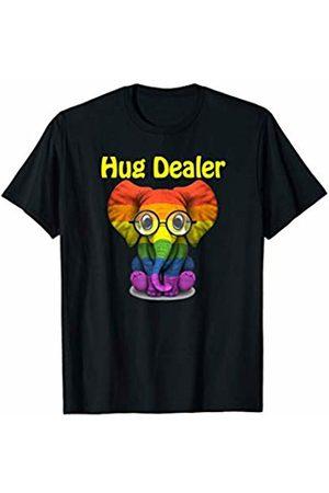 Free Hugs Shirt Co 2814 Pride Hug Dealer Rainbow Cute Elephant With Glasses T-Shirt