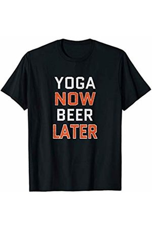 Crazy Funny Yoga Shirts Yoga Now Beer Later T-Shirt