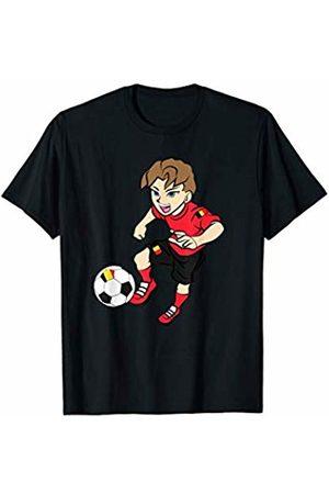 Football Apparel Co. Running Football Player Shirt Belgium Flag Jersey Adult Kids T-Shirt