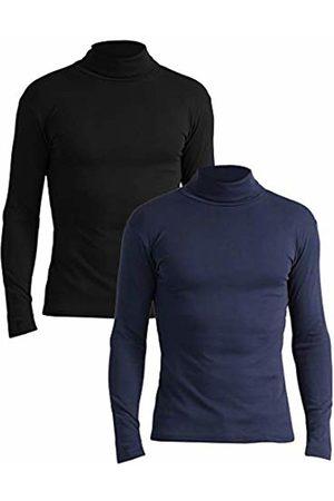 Lower East Slim Fit Rollkragen Shirt Turtleneck, Schwarz/Navy), Small