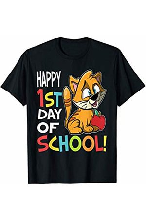 OKAI Tees First Day of School Shirts Happy 1st Day of School Shirt Back to School Cat T-Shirt