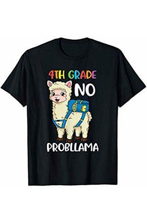 Llama Back To School CG Fourth Grade No Probllama Shirt Llama Back To School Gift T-Shirt