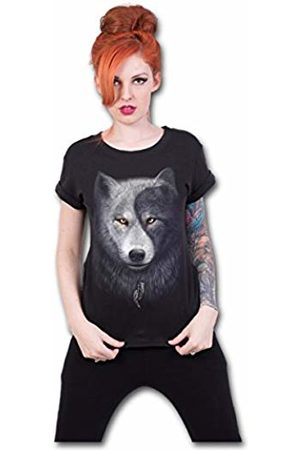 Spiral Direct Women's Wolf Chi-Boatneck Cap Sleeve Top T-Shirt, 001