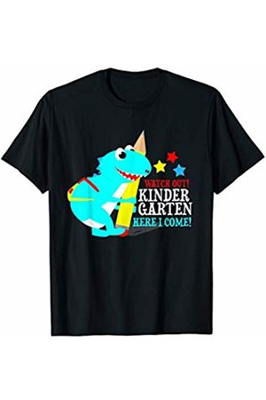 Kindergarten Back To School Gift Kids Watch Out Kindergarten Here I Come Dinosaurs T-Shirt