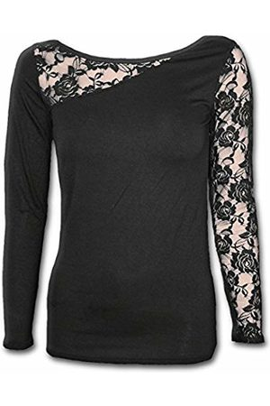 Spiral Direct Women's Gothic Elegance - Lace One Shoulder Top Long Sleeve 001