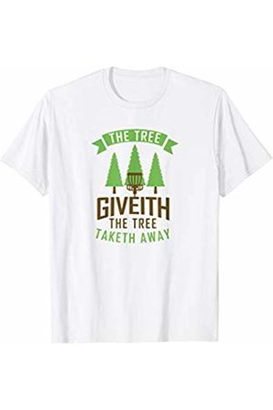 Disc Golf Heros Disc Golf Tree Giveith Funny Retro Frisbee Sports T-Shirt