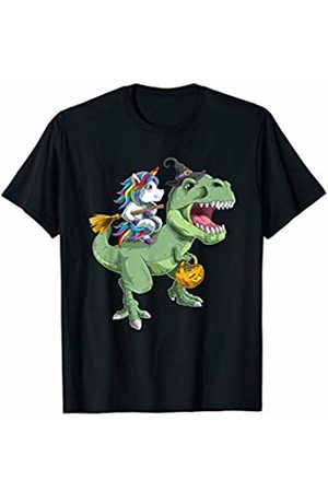 TheHolidayCouture Funny Halloween Witch Unicorn and T-Rex Dinosaur T-Shirt