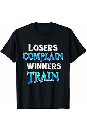 Calories quote gift by BAR Gym workout gift idea Losers complain winners train T-Shirt