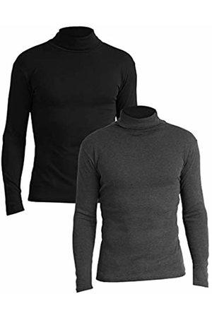 Lower East Slim Fit Rollkragen Shirt Turtleneck, Schwarz/Anthrazit Melange), Large