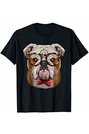 Fox Republic T-Shirts Grumpy English Bulldog in Classic Eyeglass and Bow Tie T-Shirt