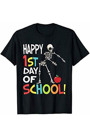 OKAI Tees First Day of School Shirts Happy 1st Day of School Shirt Flossing Skeleton T-Shirt