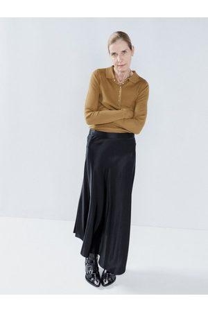 Raey Dip-hem Silk-satin Midi Slip Skirt - Womens