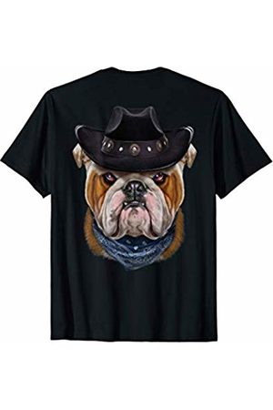 Fox Republic T-Shirts Grumpy English Bulldog in Cowboy Hat and Bandana T-Shirt