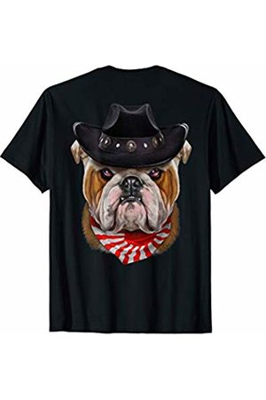 Fox Republic T-Shirts English Bulldog in Cowboy Hat and Flag of Japan Bandana T-Shirt