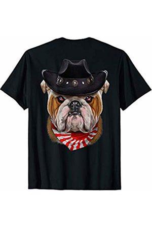 Fox Republic T-Shirts English Bulldog in Cowboy Hat and Flag of Japan Bandana T-Shirt