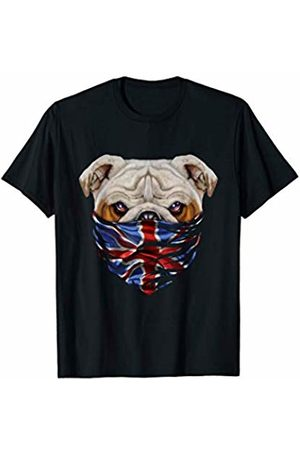 Fox Republic T-Shirts Grumpy English Bulldog in Flag of United Kingdom Bandana T-Shirt
