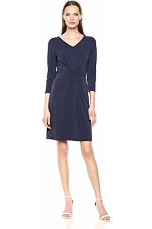 Lark & Ro Women Knitted Dresses - Crepe Knit Three Quarter Sleeve Center Twist Dress Navy