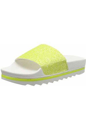 THE WHITE BRAND Women's Glitter Matte Open Toe Sandals, Neon