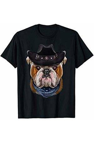 Fox Republic T-Shirts Grumpy English Bulldog in Cowboy Hat and Bandana T-Shirt