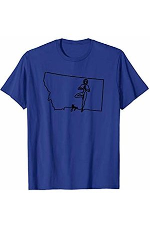 Wesean Yoga State of Montana Outline with Yoga Script ABN820a T-Shirt