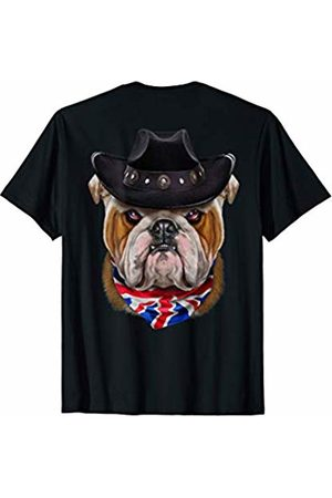 Fox Republic T-Shirts Grumpy English Bulldog in Cowboy Hat and Union Jack Bandana T-Shirt