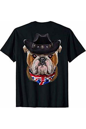 Fox Republic T-Shirts Grumpy English Bulldog in Cowboy Hat and Union Jack Bandana T-Shirt