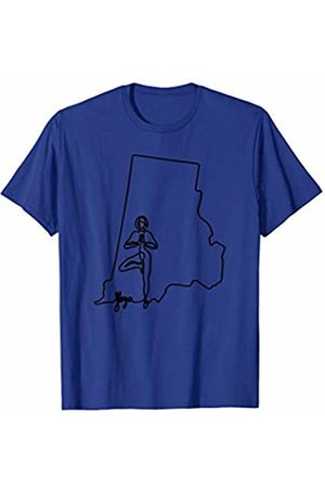 Wesean Yoga State of Rhode Island Outline with Yoga Script ABN833a T-Shirt