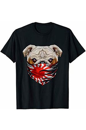 Fox Republic T-Shirts Grumpy English Bulldog in Japanese Rising Sun Flag Bandana T-Shirt