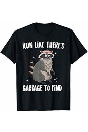 Freshoutlook Funny Animal Shirts Run Like There's Garbage To Find Funny Running Cute Raccoon T-Shirt