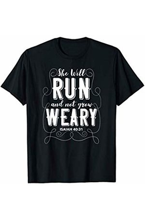 Christian Bible Verse The Creative Doodler Company She Will Run and Not Grow Weary Isaiah 40:31 Running Design T-Shirt