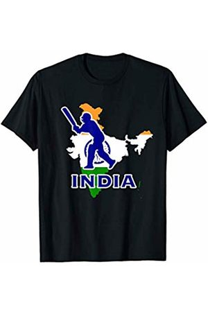 Wicked Cricket Sports Fan Apparel India Cricket Sports Player Batsman Indian Map And Flag Gift T-Shirt